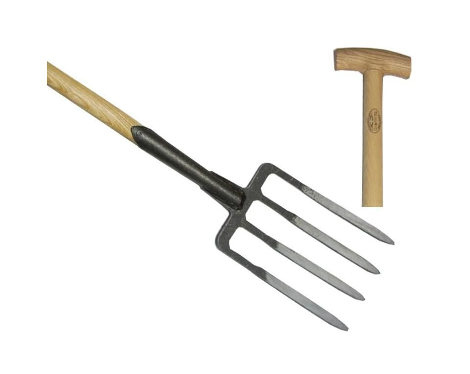Garden fork 4 prong ash T-handle 900mm