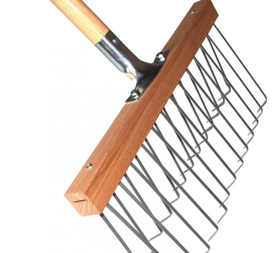 Lawn rake double row tines ash handle 1400mm