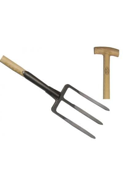 Garden fork 3 prong ash T-handle 900mm